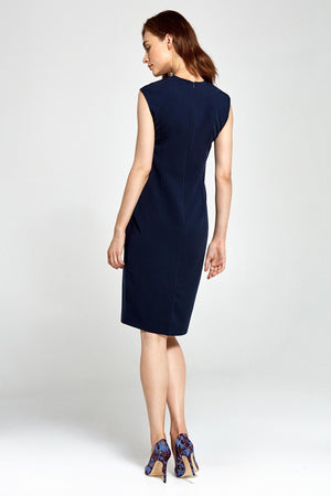 Navy Blue Fitted V Neckline Dress (1303129587788)