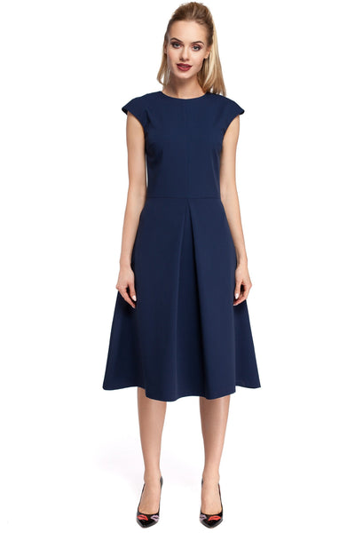 Navy Blue Midi Dress With Inverted Front Pleat