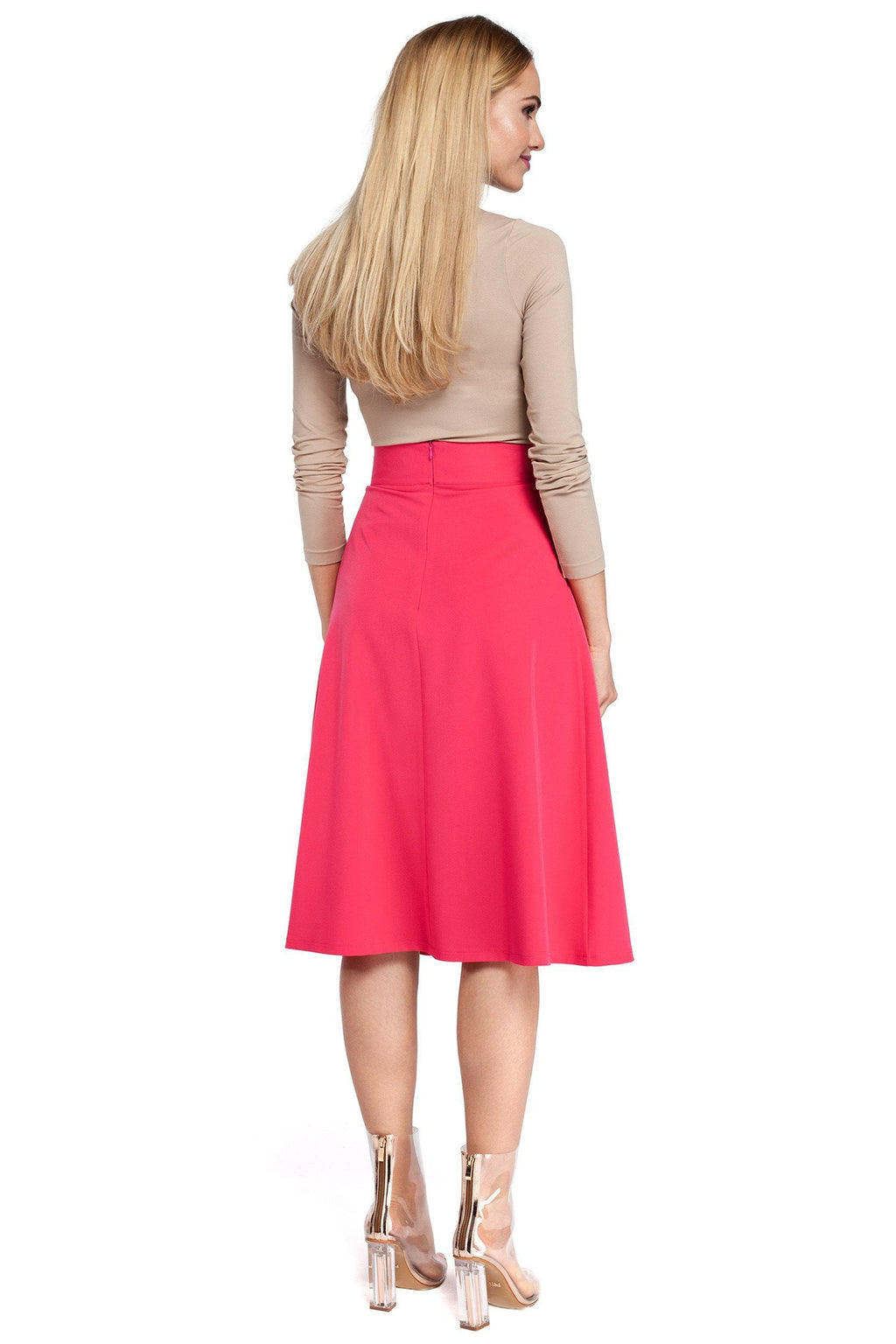 Pleated High Waist Pink Midi Skirt - So Chic Boutique