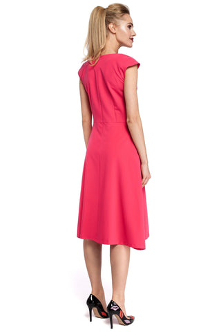 Inverted Front Pleat Pink Midi Dress