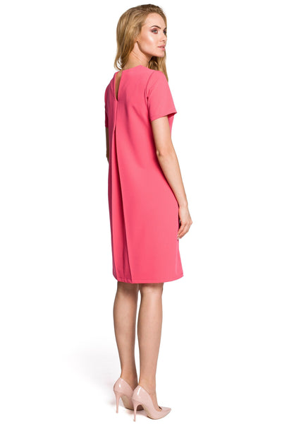 Pink Trapeze Dress With Pleated Back