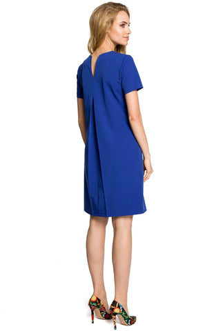 Royal Blue Trapeze Dress With Pleated Back