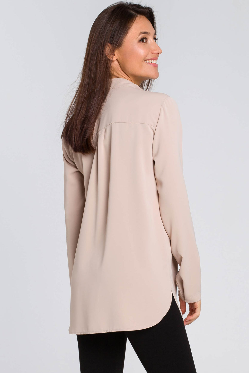 Beige Blouse With Utility Flap Pockets - So Chic Boutique