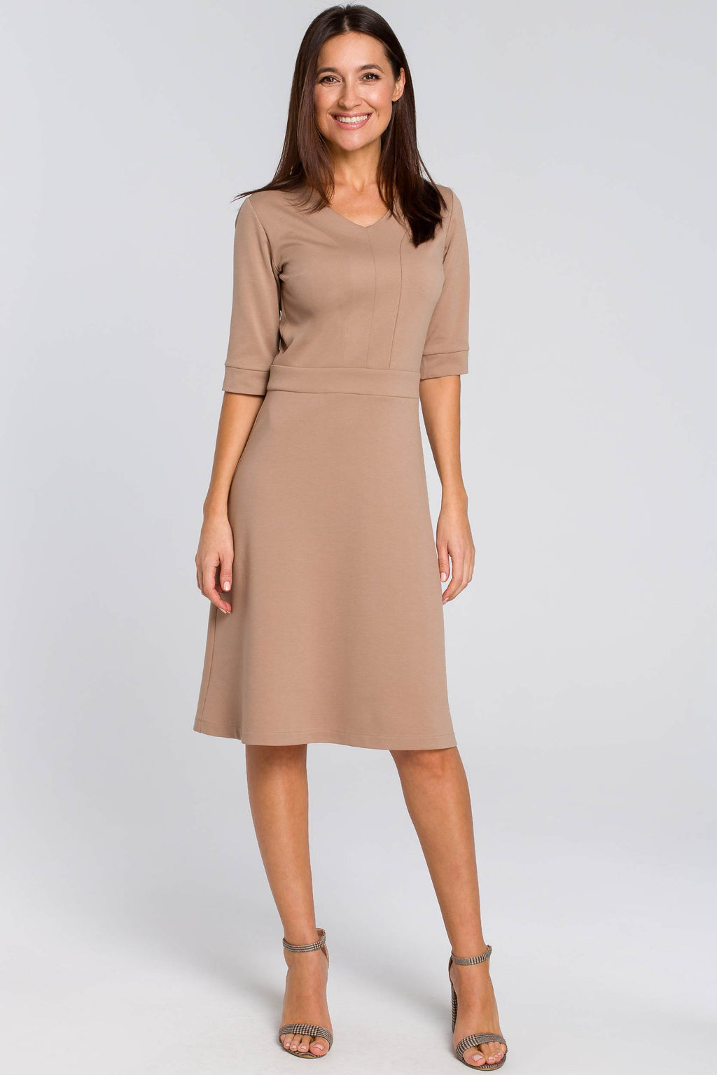 Beige Cotton Shift Dress With Elbow Sleeves - So Chic Boutique