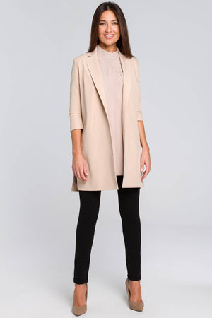 Beige Long Blazer With Side Slits And 7/8 Sleeves - So Chic Boutique