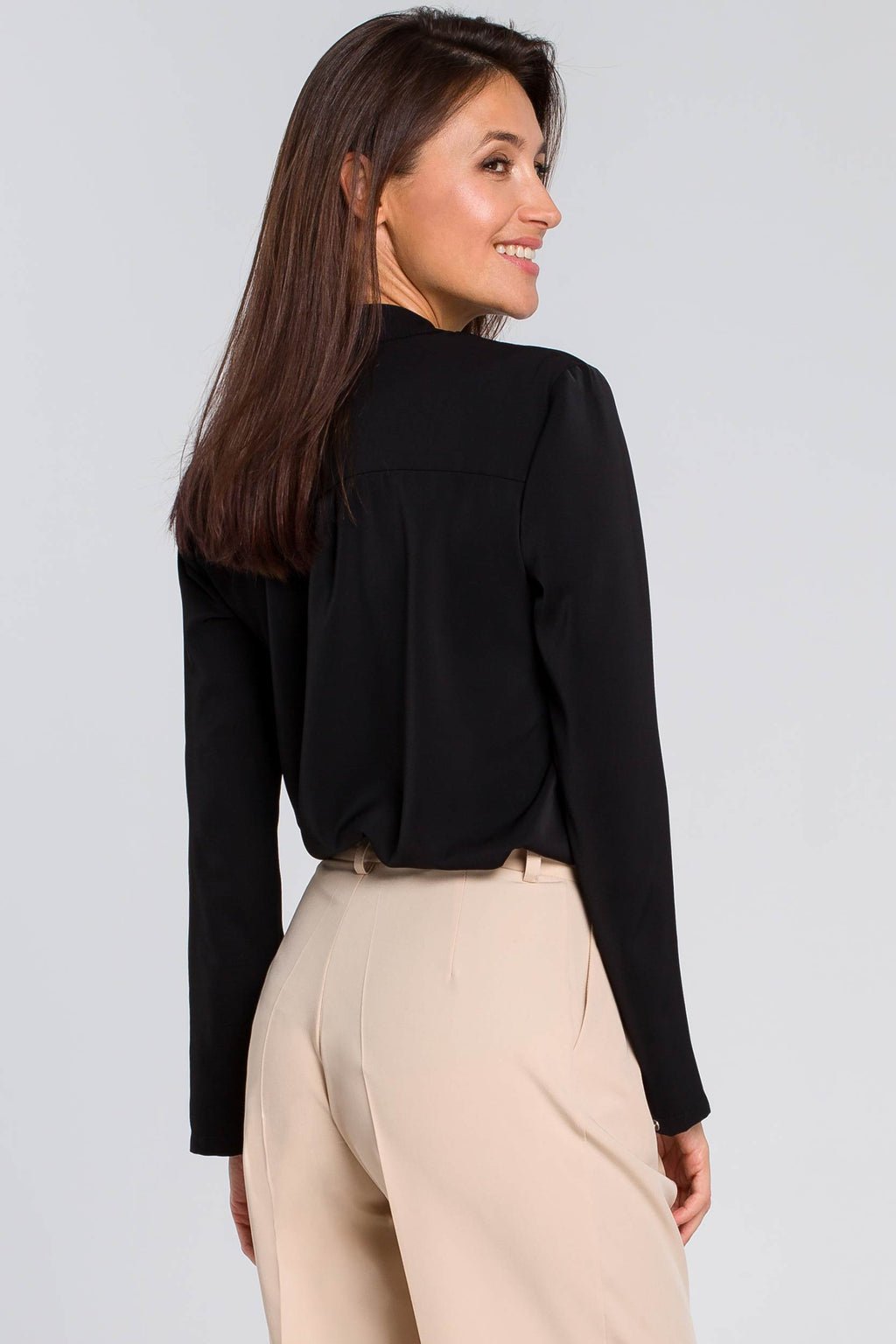 Black Blouse With Utility Flap Pockets - So Chic Boutique