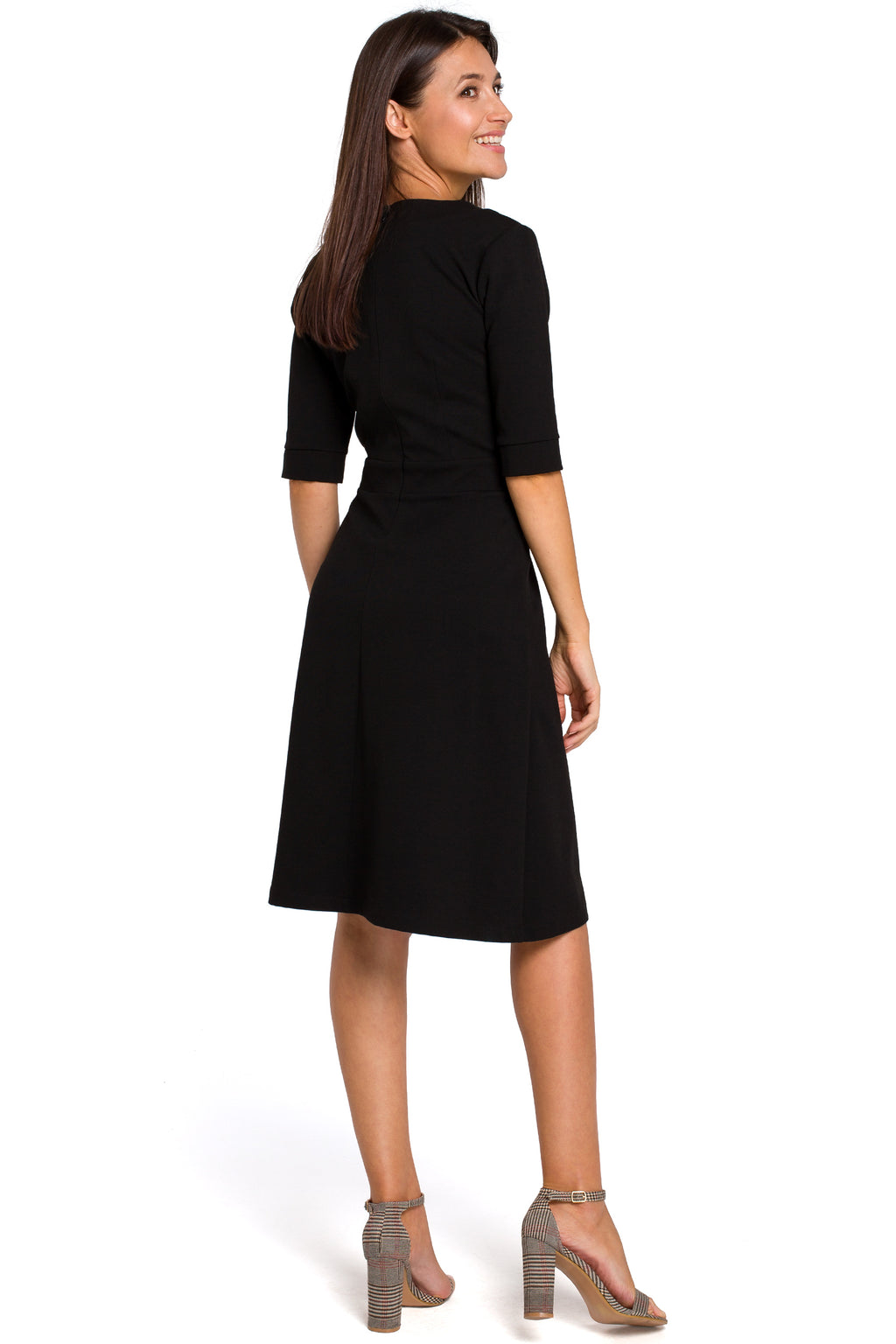 Black Cotton Shift Dress With Elbow Sleeves - So Chic Boutique