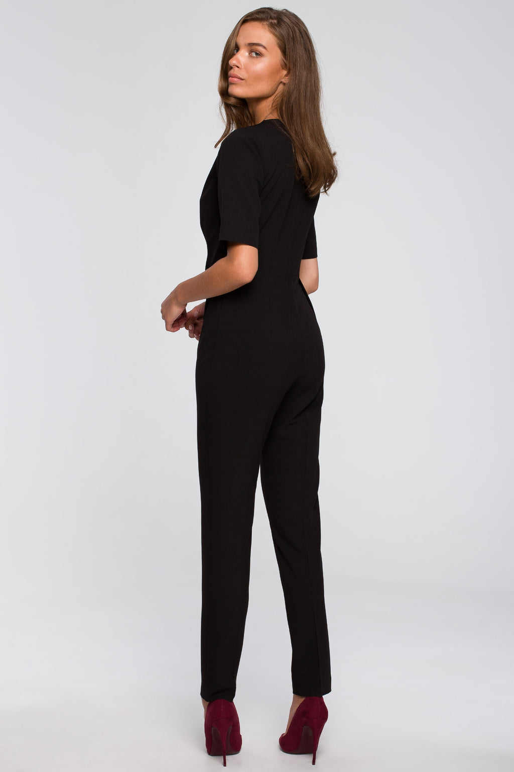 Black Jumpsuit With An Asymmetric Wrap Front - So Chic Boutique