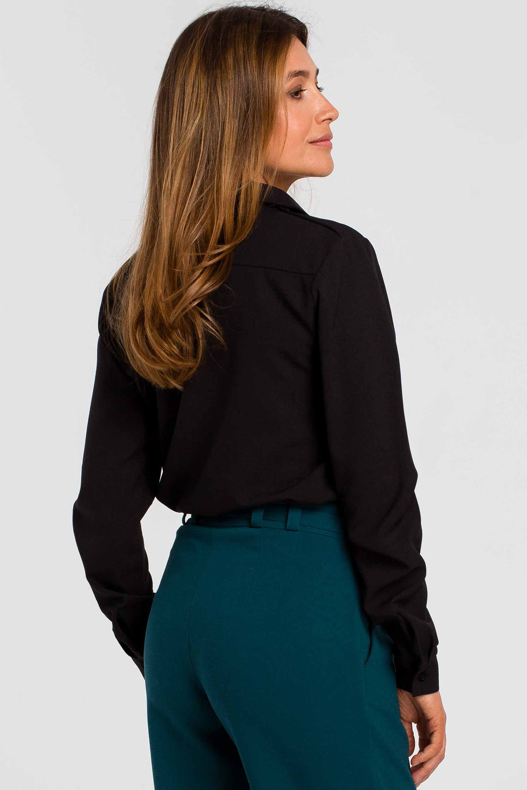 Black Long Sleeve Linen Blend Shirt With Shoulder Epaulets - So Chic Boutique