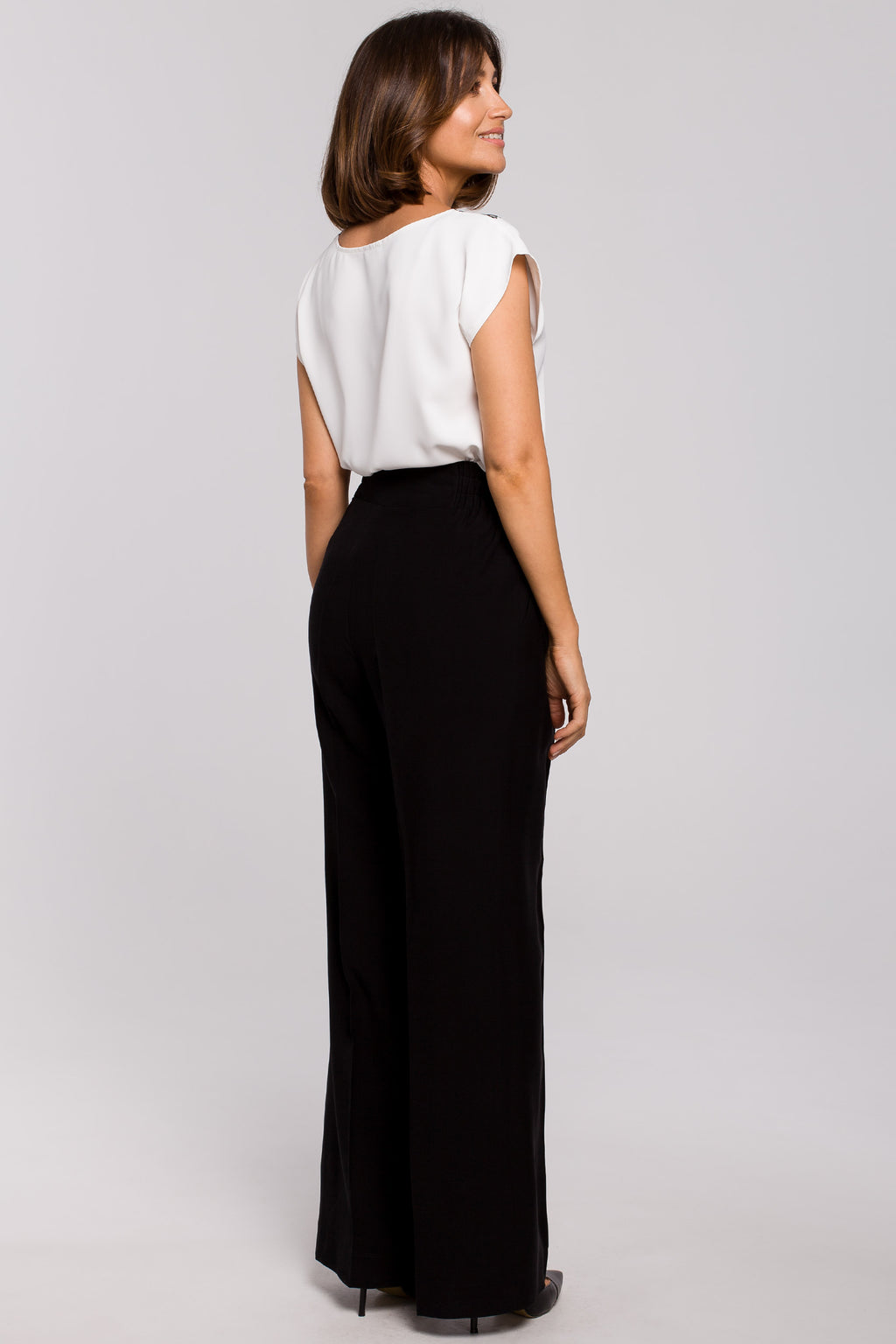 Black Palazzo Trousers With Elastic Waist - So Chic Boutique