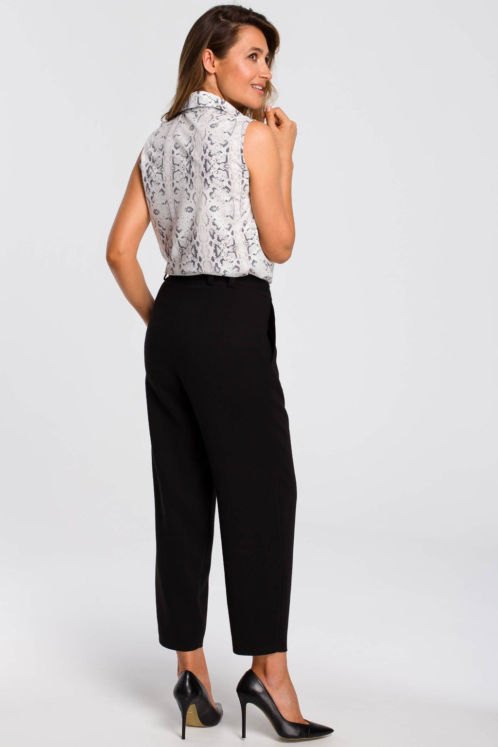 Black Pegged Trousers With A Buckle Belt - So Chic Boutique