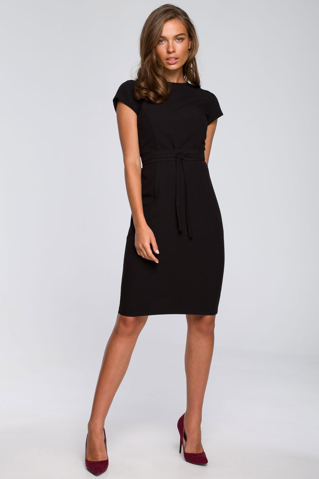 Black Pencil Dress With A Tied Belt - So Chic Boutique