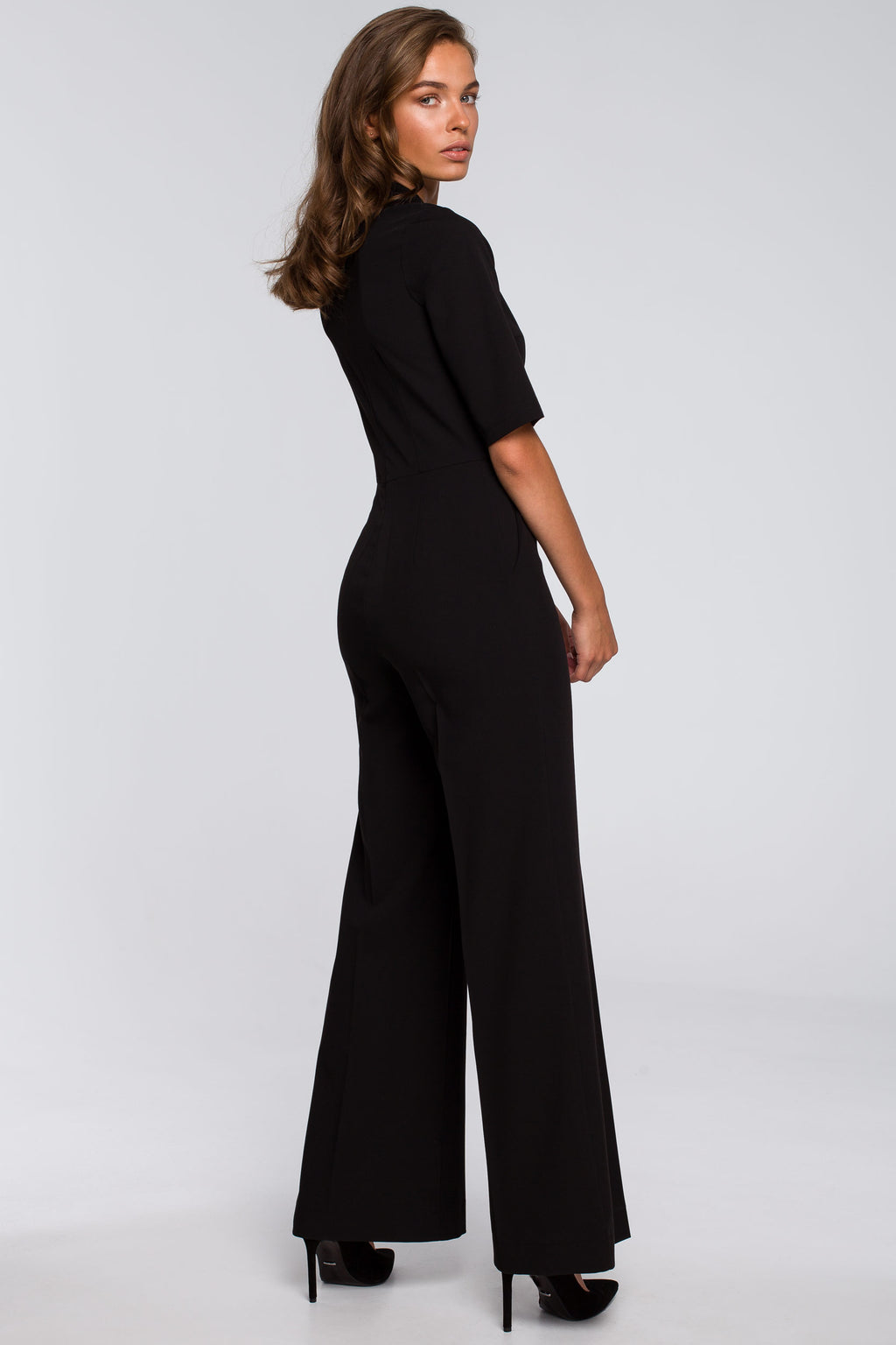 Black Wide Leg Jumpsuit With Tied Neck - So Chic Boutique