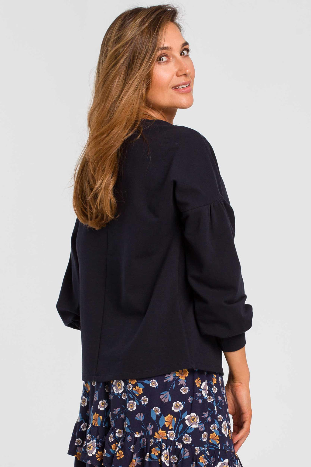 Blue Bishop Sleeve Cotton Top - So Chic Boutique