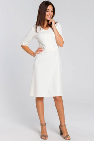 Ecru Cotton Shift Dress With Elbow Sleeves - So Chic Boutique
