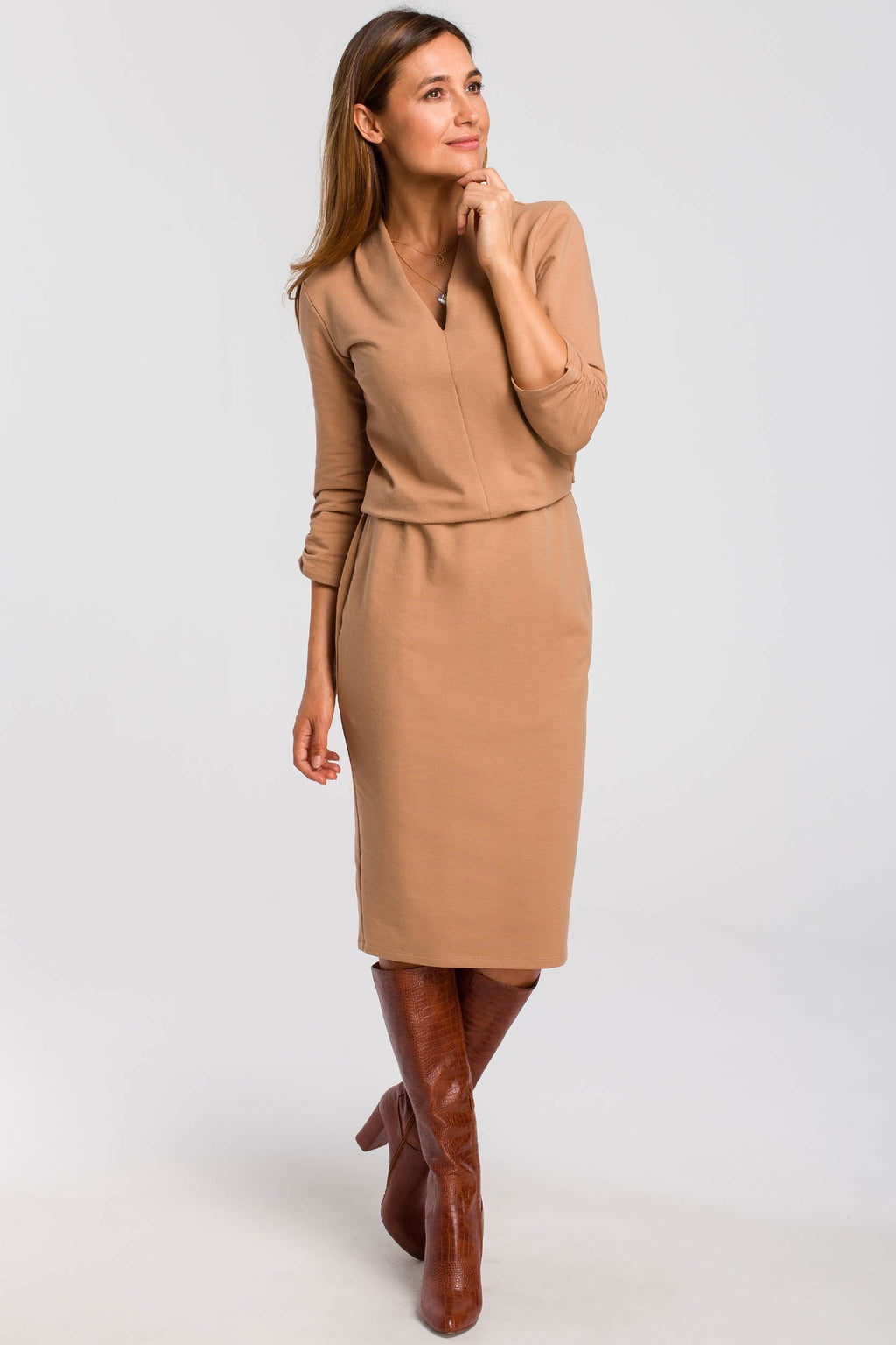 Elastic Waist Cappuccino Midi Cotton Dress With Gathered Sleeves - So Chic Boutique