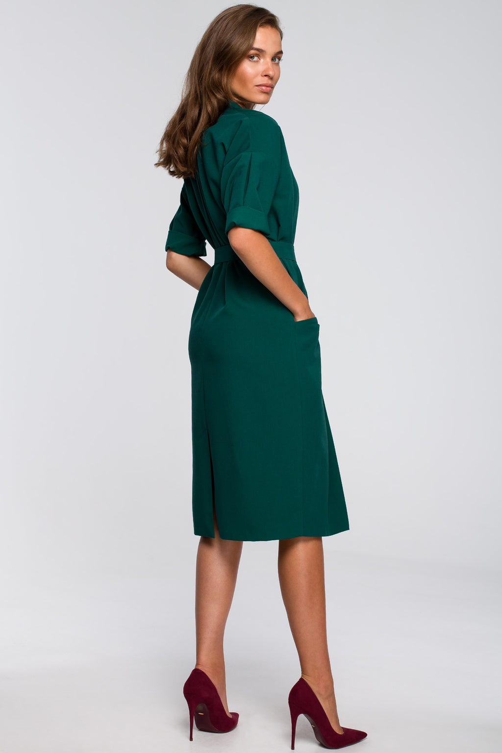 Green Elbow Sleeve Shirt Dress - So Chic Boutique