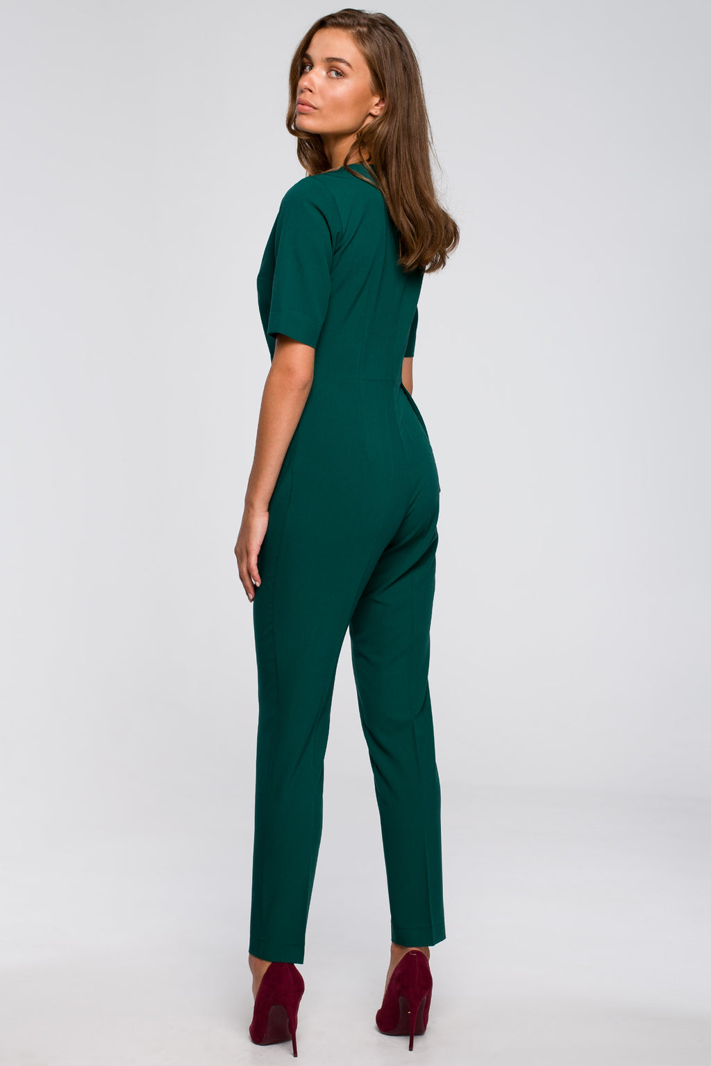 Green Jumpsuit With An Asymmetric Wrap Front - So Chic Boutique