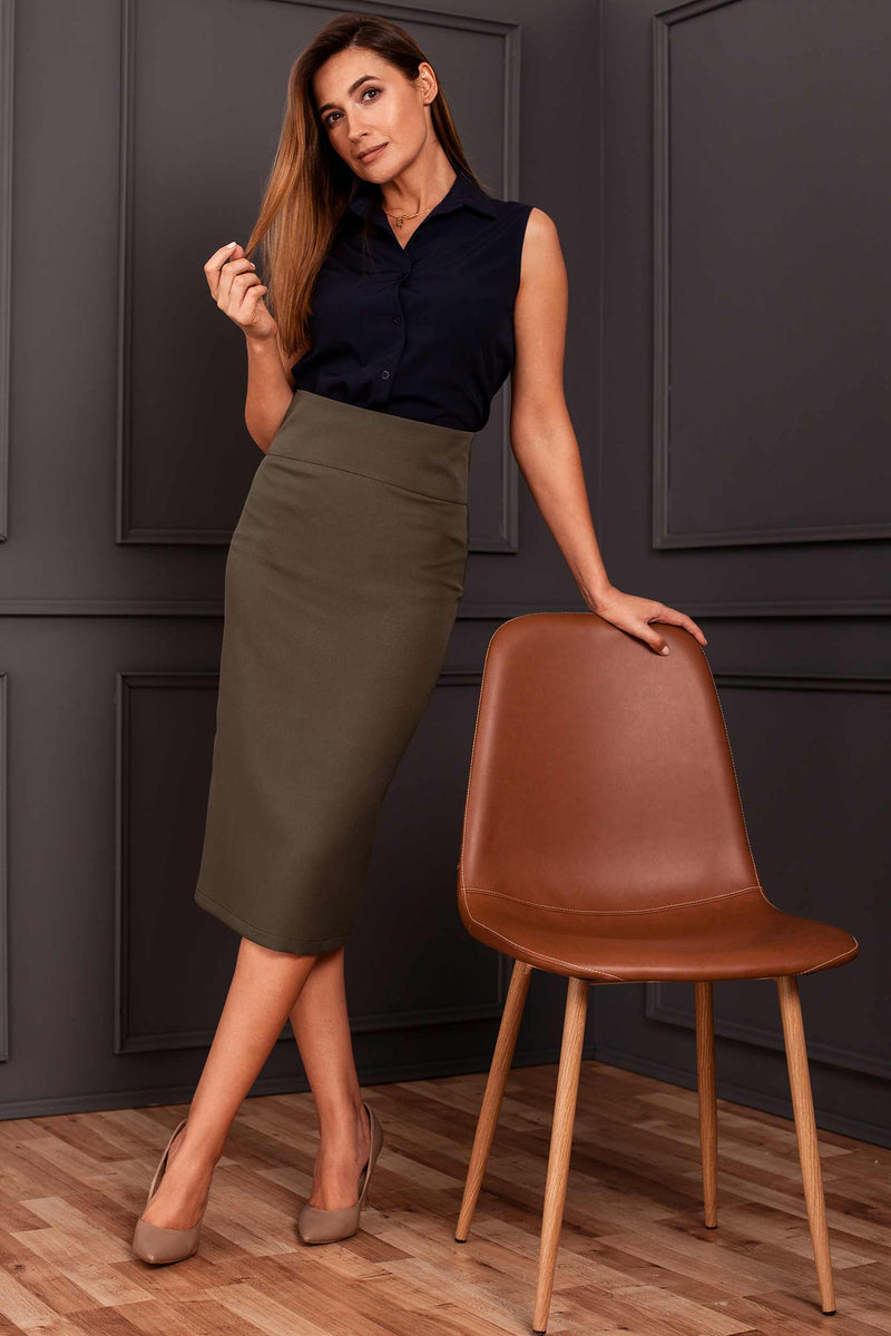 Khaki High Waist Pencil Skirt - So Chic Boutique