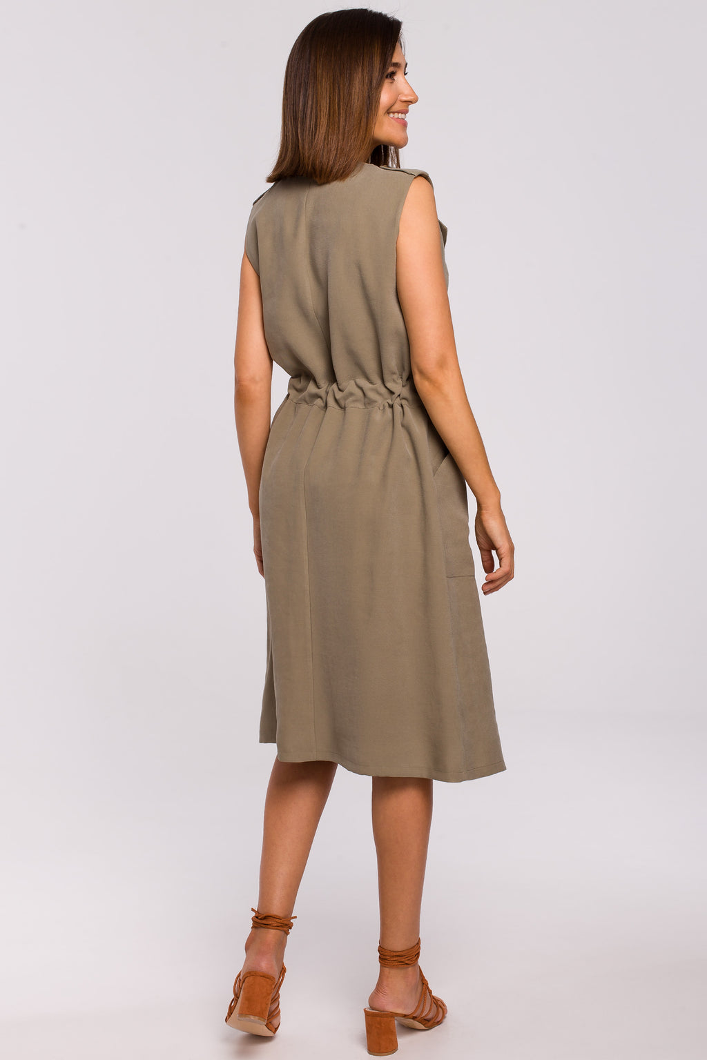 Khaki Midi Shirt Dress - So Chic Boutique