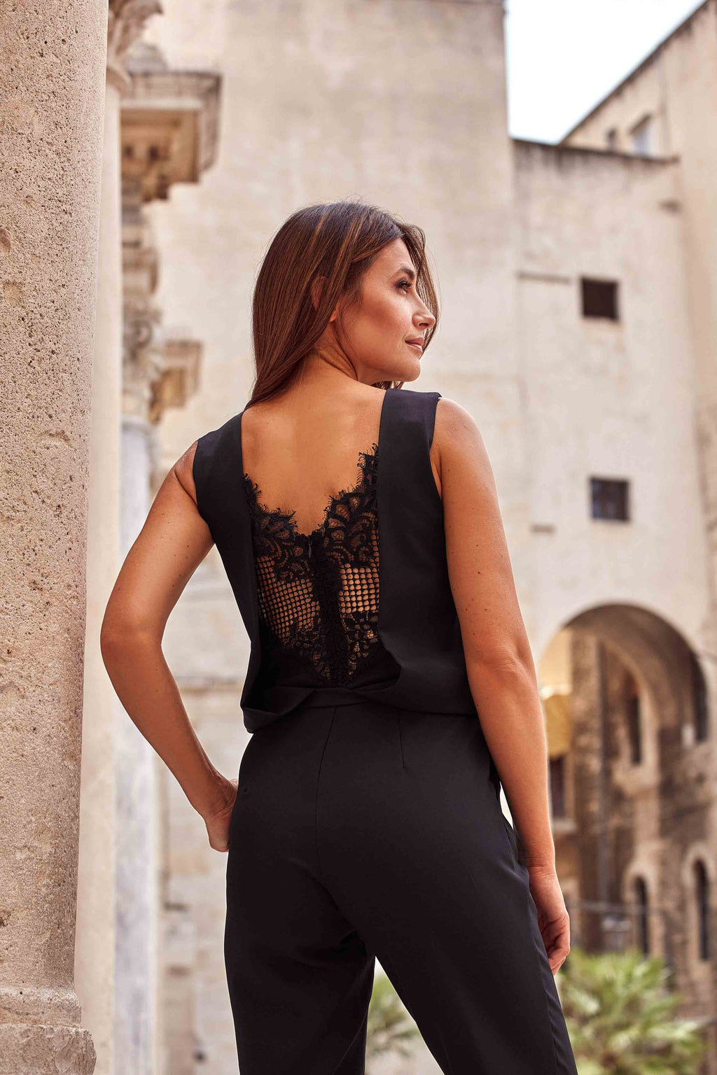Lace Panel Black Jumpsuit - So Chic Boutique