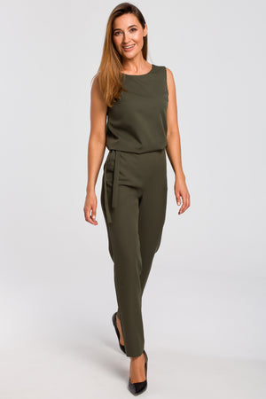 Lace Panel Khaki Jumpsuit - So Chic Boutique