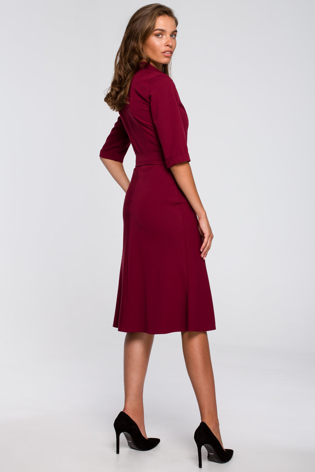 Midi Maroon Collar Dress With A Buckle - So Chic Boutique