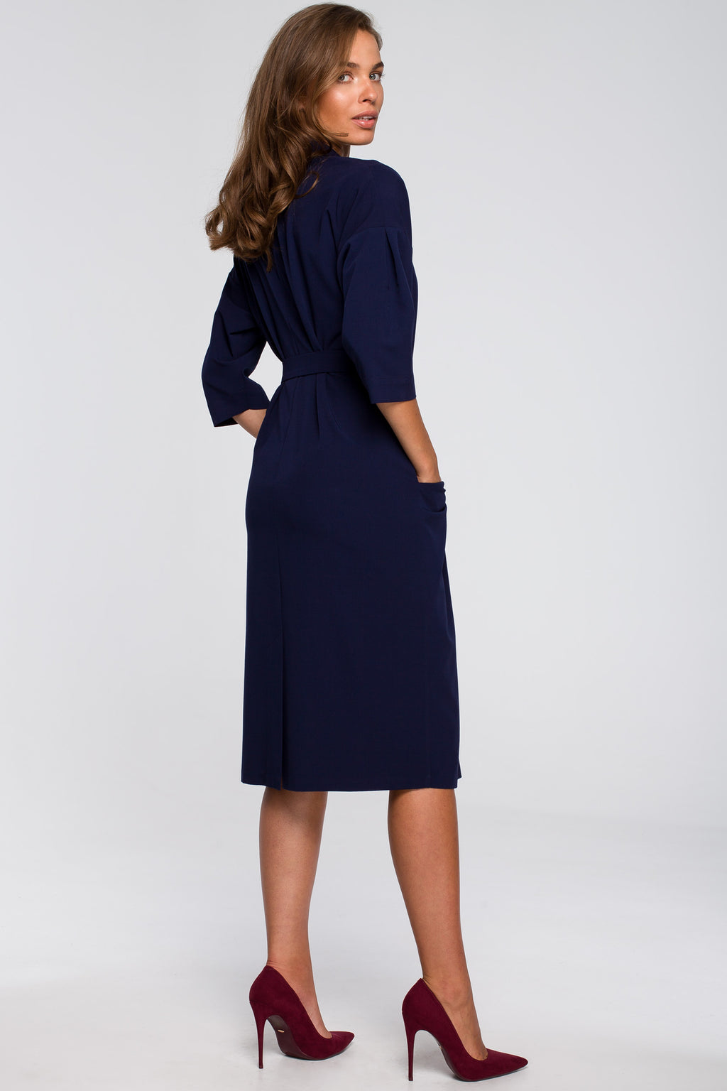 Navy Blue Elbow Sleeve Shirt Dress - So Chic Boutique