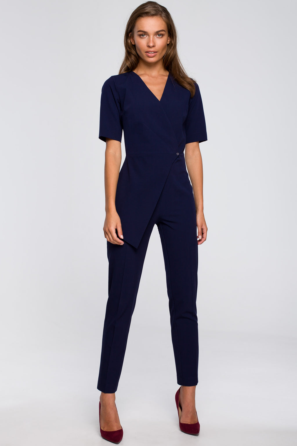 Navy Blue Jumpsuit With An Asymmetric Wrap Front - So Chic Boutique