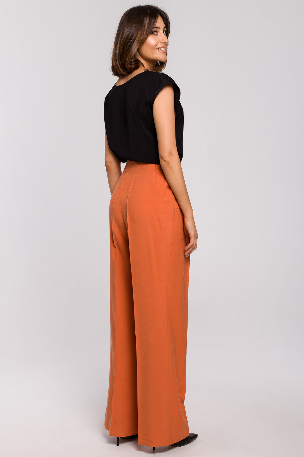Orange Palazzo Trousers With Elastic Waist - So Chic Boutique