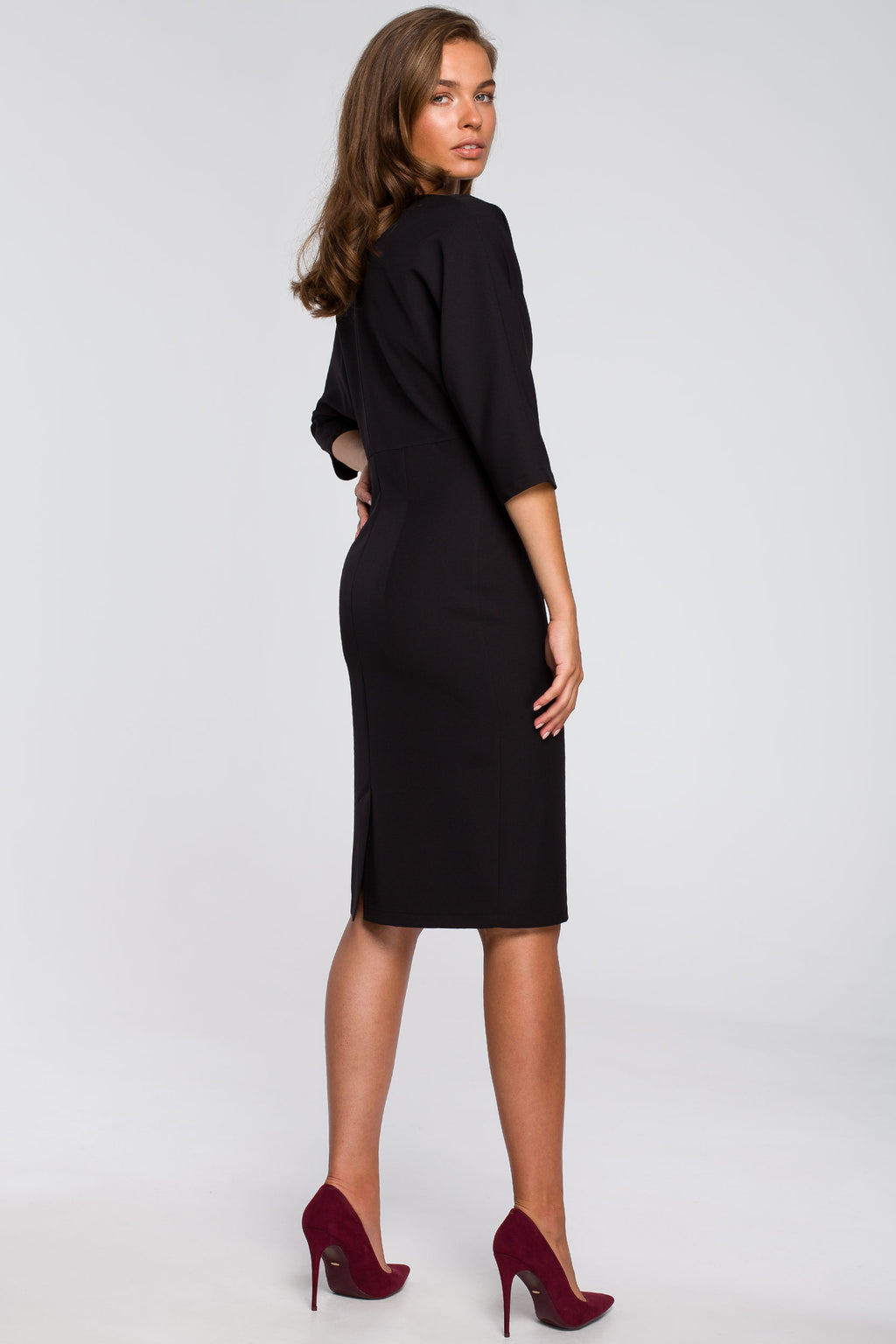 Pencil Black Dress With Fitted Waist And Kimono Top - So Chic Boutique