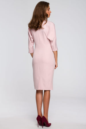 Pencil Powder Pink Dress With Fitted Waist And Kimono Top - So Chic Boutique