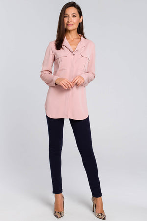 Powder Pink Blouse With Utility Flap Pockets - So Chic Boutique