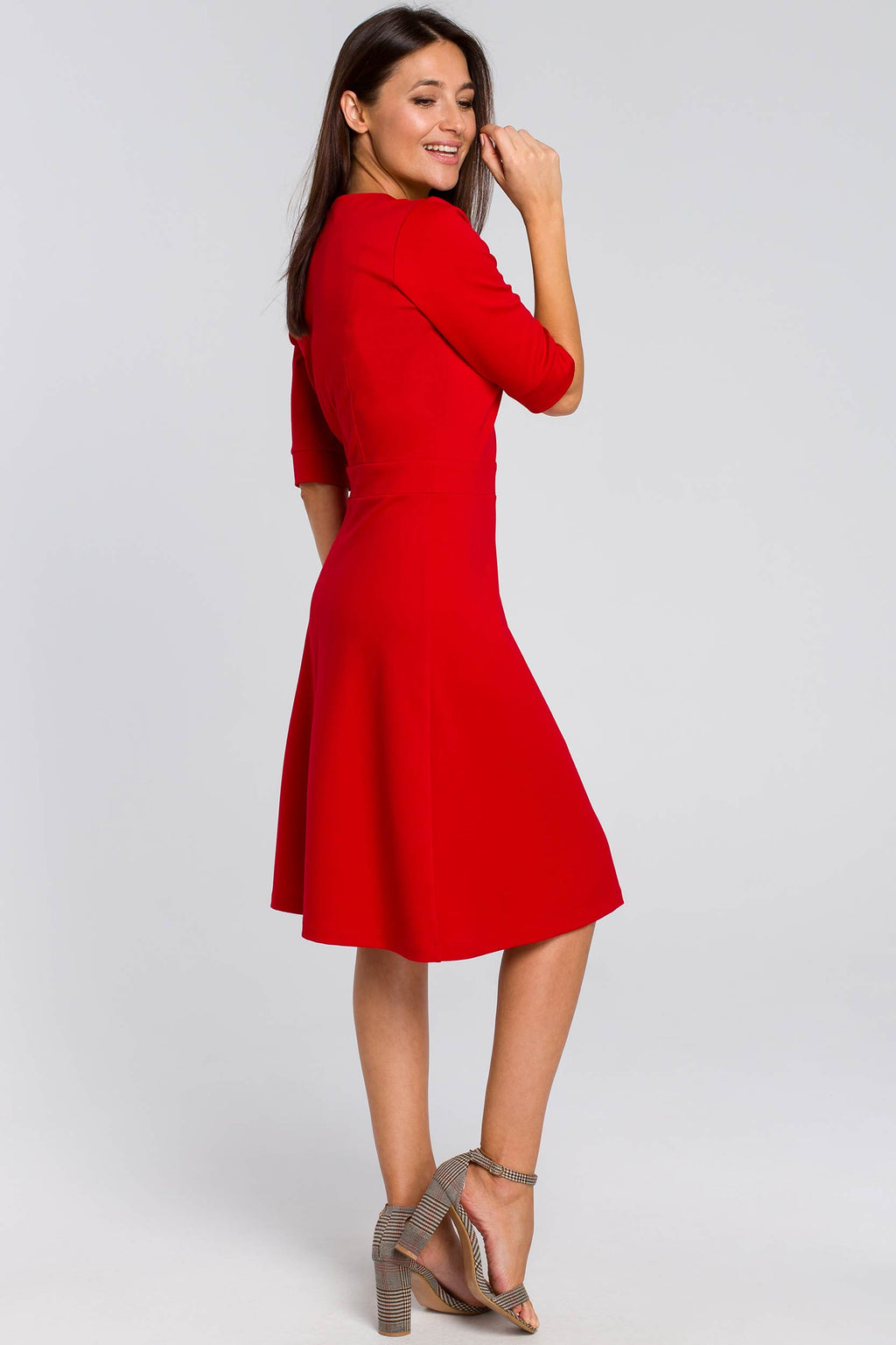 Red Cotton Shift Dress With Elbow Sleeves - So Chic Boutique