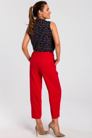 Red Pegged Trousers With A Buckle Belt - So Chic Boutique