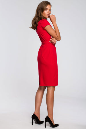 Red Pencil Dress With A Tied Belt - So Chic Boutique