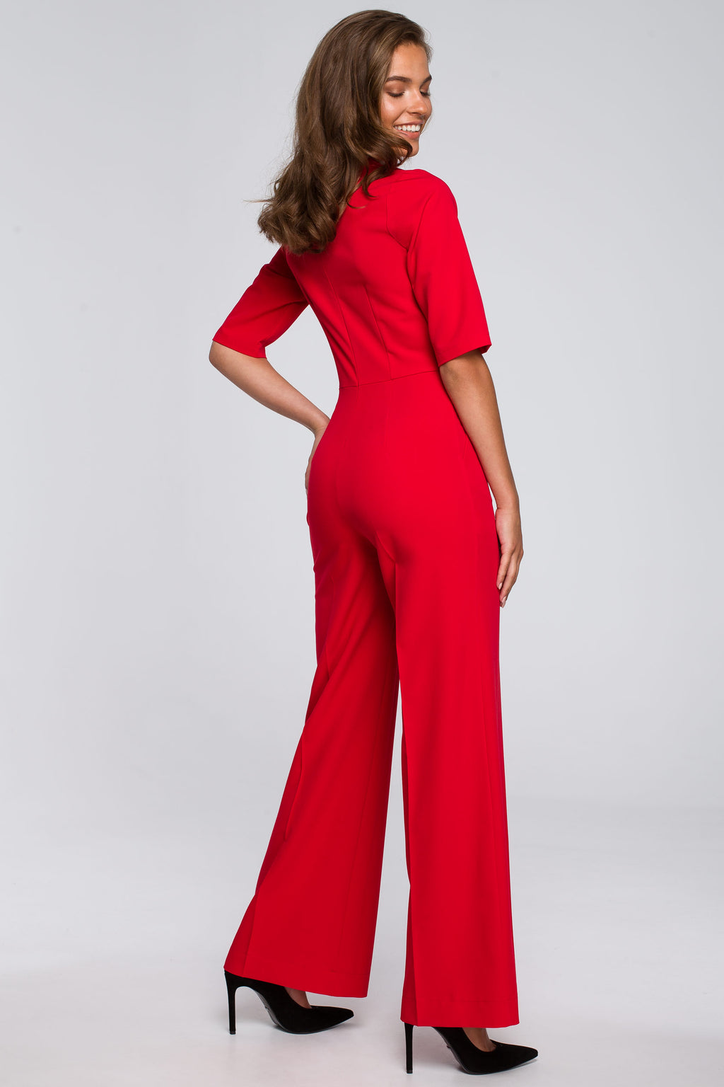 Red Wide Leg Jumpsuit With Tied Neck - So Chic Boutique