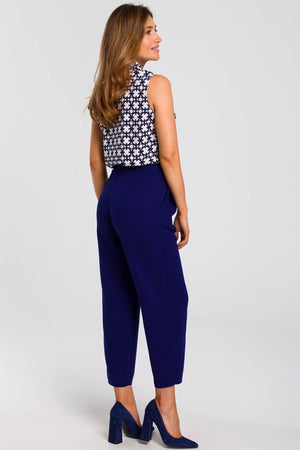 Royal Blue Pegged Trousers With A Buckle Belt - So Chic Boutique