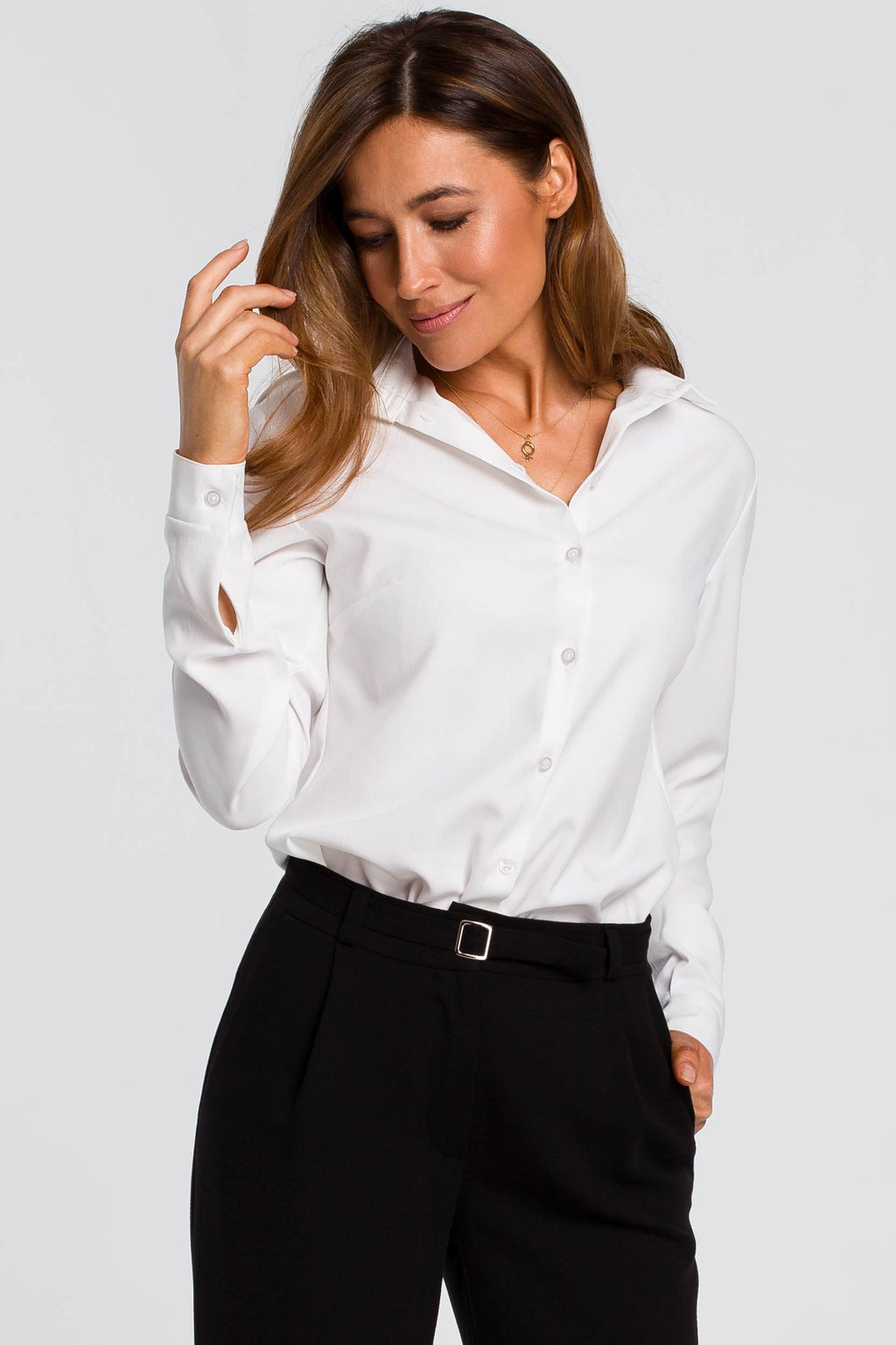 White Long Sleeve Linen Blend Shirt With Shoulder Epaulets - So Chic Boutique