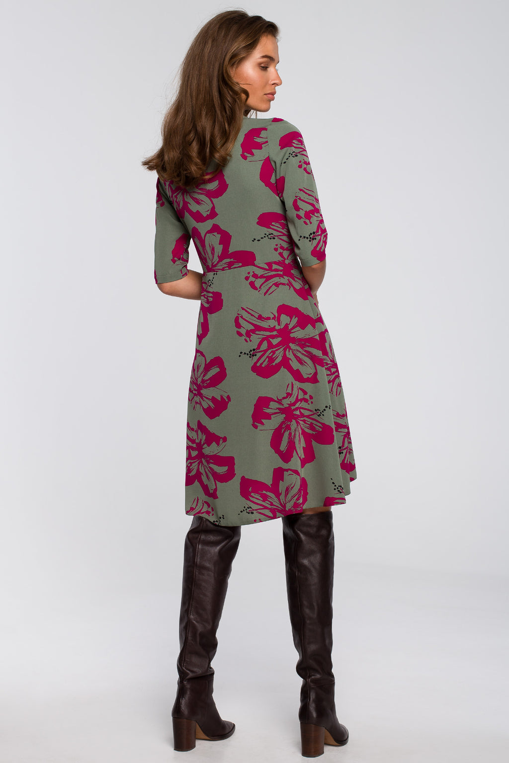 Wrap A Line Almond Green Dress With Fuchsia Floral Print - So Chic Boutique