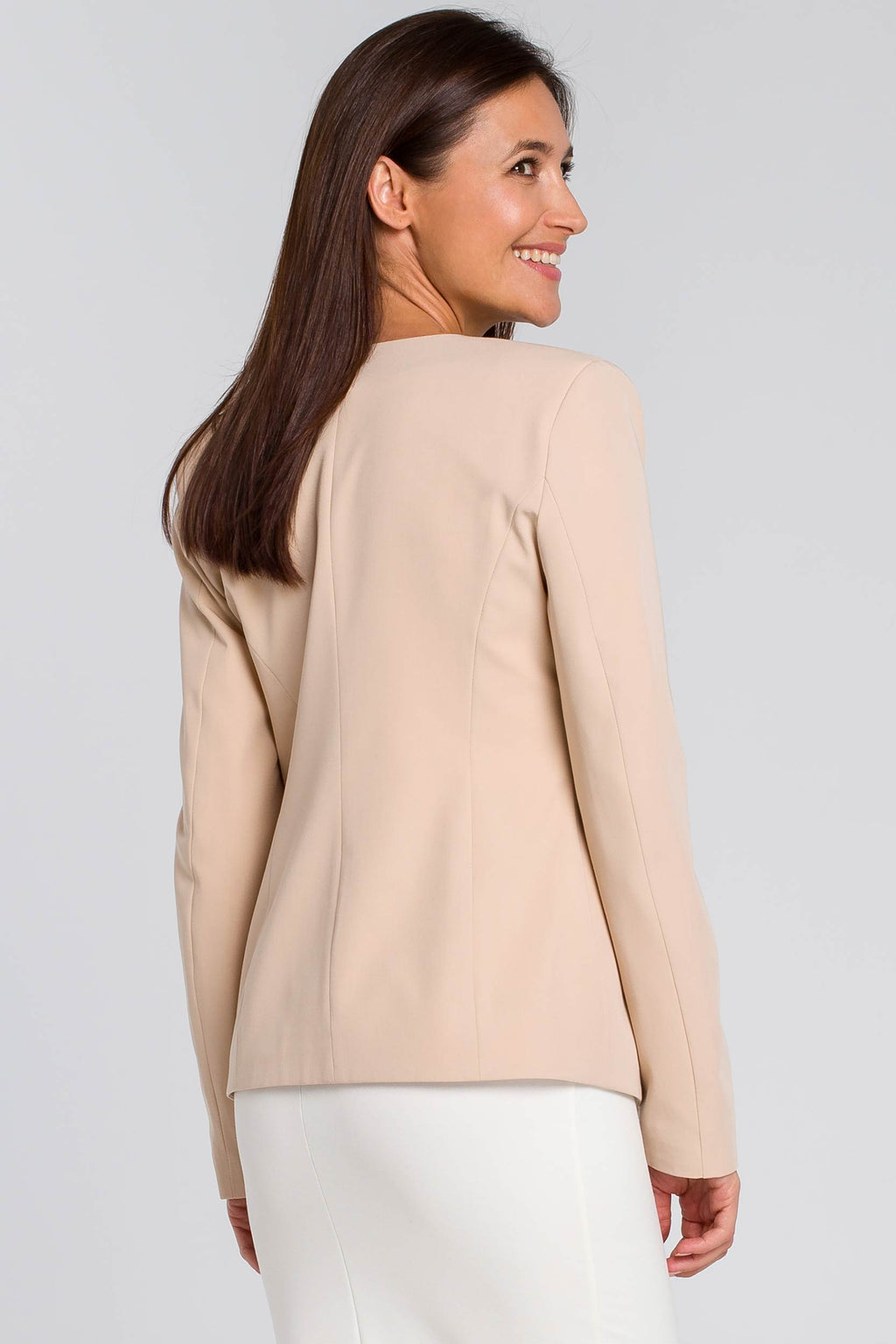 Beige Tailored Blazer With Zips - So Chic Boutique