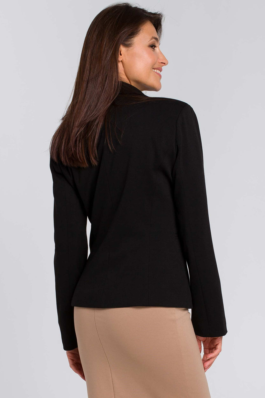 Black Cotton Blazer With Dotted Lining - So Chic Boutique