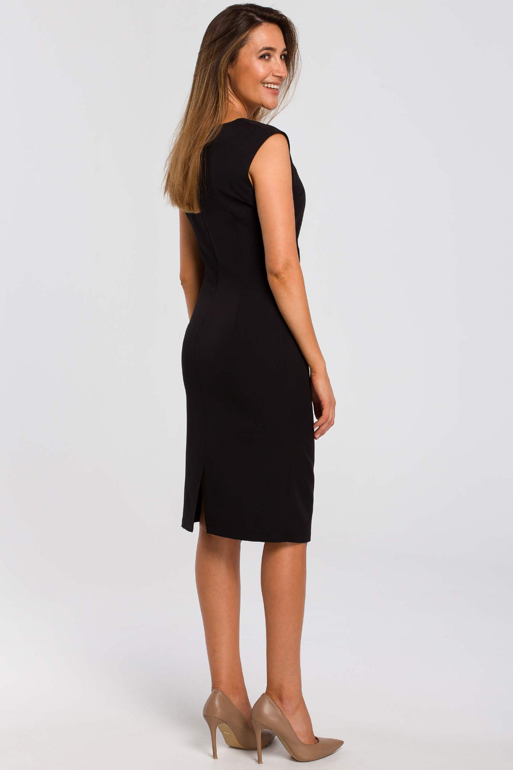 Black Sleeveless Midi Dress With Gathered Front - So Chic Boutique