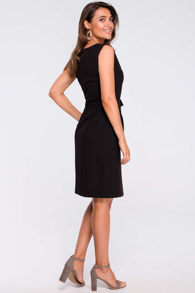 Black Sheath Dress With A Front Pleat And Pockets