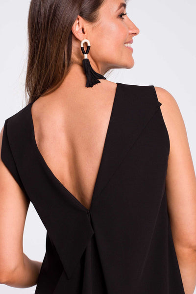 Black Trapeze Dress With A V Back