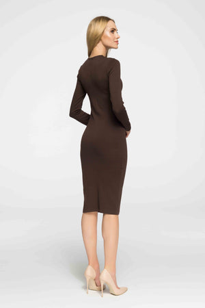 Brown Fitted Midi Cotton Dress - So Chic Boutique
