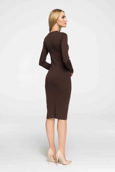 Brown Fitted Midi Knitted Dress