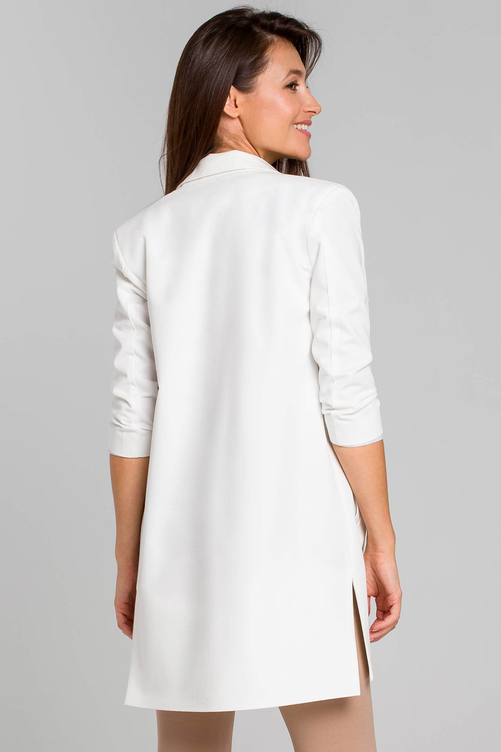Ecru Long Blazer With Side Slits And 7/8 Sleeves - So Chic Boutique