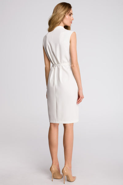 Ecru Midi Sleeveless Dress With A Front Split