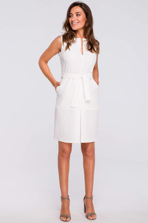 Ecru Sheath Dress With A Front Pleat And Pockets - So Chic Boutique